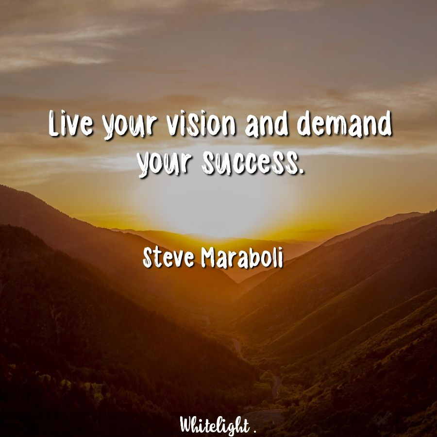 Live your vision and demand your success. -Steve Maraboli